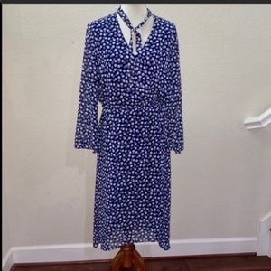NWOT Anne Klein Navy Blue Midi Dress Size 14